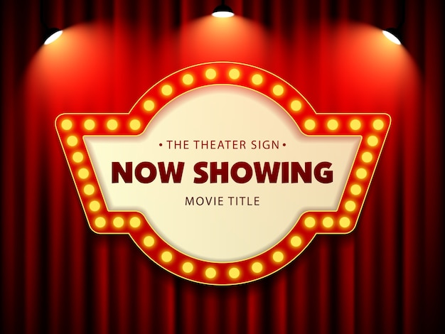 Cinema theatre retro sign on curtain with spotlight