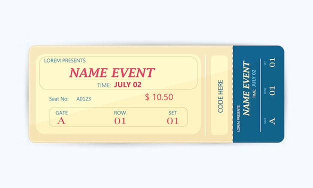 Cinema ticket card dal design moderno