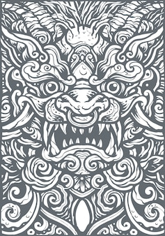 Cinese lion mandala background illustration
