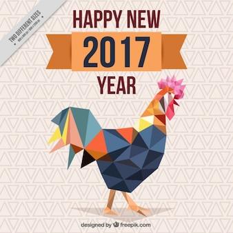 Cinese nuovo anno con sfondo gallo poligonale