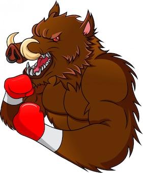 Cinghiale in abbigliamento sportivo e guantoni da boxe