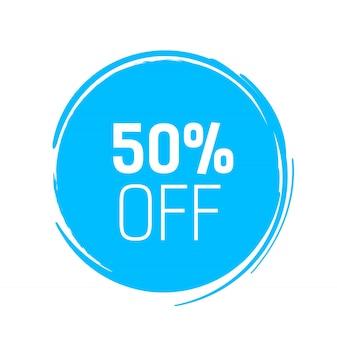 Cinquanta per cento di sconto sul cerchio di inchiostro blu.