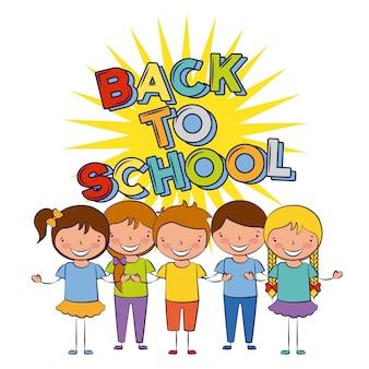 Cinque bambini tornano a scuola illustrazione