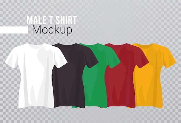 Cinque camicie mockup impostano i colori.