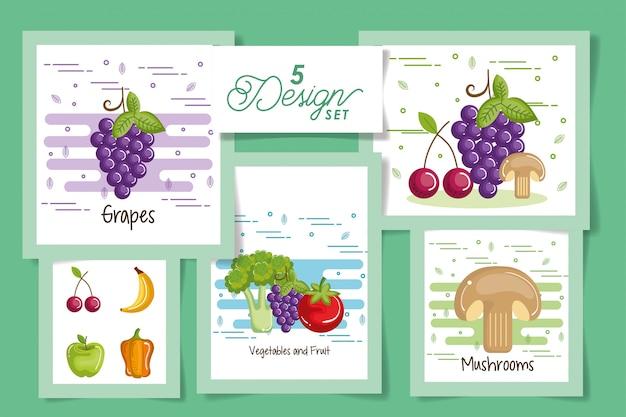 Cinque carte di frutta e verdura