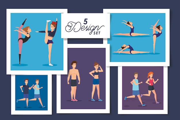 Cinque disegni di persone che praticano esercizio fisico
