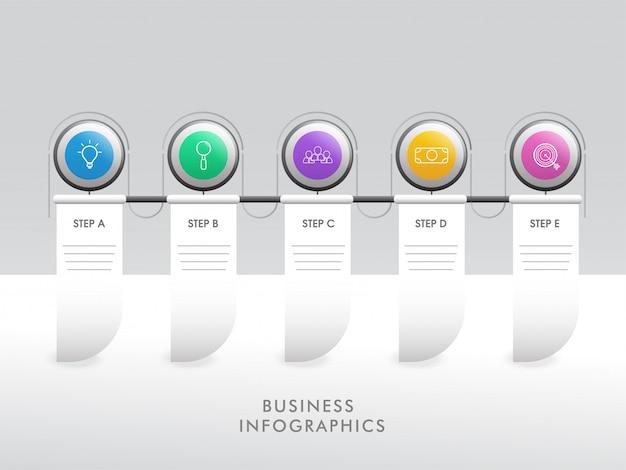 Cinque diversi modello di infografica timeline passo