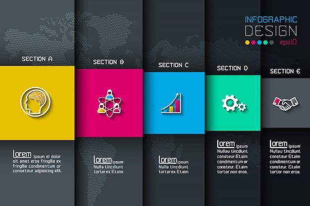Cinque etichette con infografica icona aziendale.