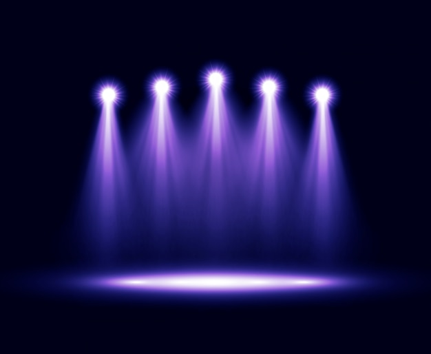 Cinque faretti realistici di illuminazione vettoriale