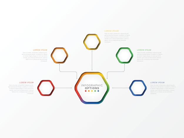 Cinque passaggi infografica con elementi esagonali. opzioni di business per diagramma, flusso di lavoro