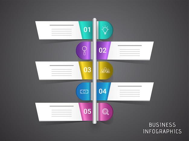 Cinque passaggi, layout infografica timeline