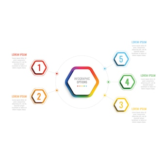 Cinque passaggi modello infografica 3d con elementi esagonali. modello di processo aziendale con opzioni per brochure, diagramma, flusso di lavoro, sequenza temporale, web design
