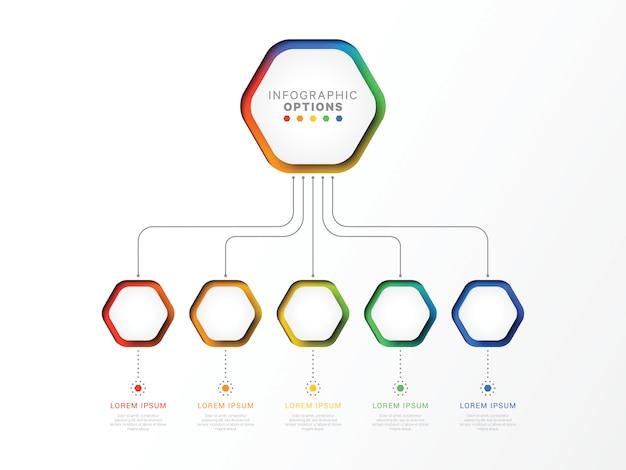 Cinque passaggi modello infografica 3d con elementi esagonali.