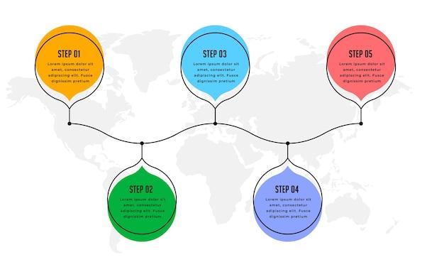 Cinque passi moderno infografica timeline sfondo design