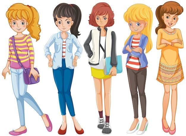 Cinque ragazze universitarie in piedi insieme