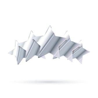 Cinque stelle d'argento lucide di valutazione con ombra isolata