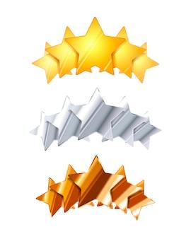 Cinque stelle di valutazione lucide dorate, d'argento e bronze isolate