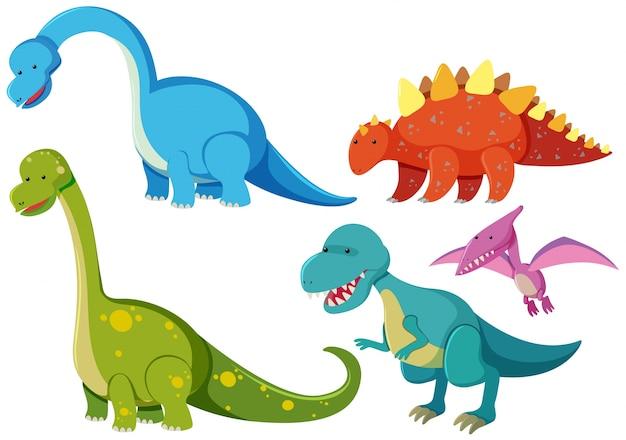 Cinque tipi di dinosauri su sfondo bianco
