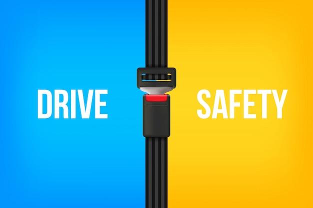 Cintura di sicurezza, cintura di sicurezza aperta e chiusa.