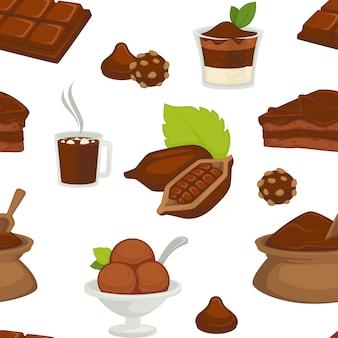 Cioccolato e burro di cacao sul modello senza cuciture di varietà dei prodotti della fetta del pane.