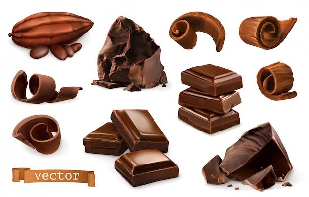 Cioccolato. pezzi, trucioli, frutti di cacao.