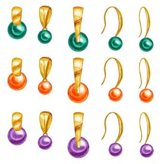 Ciondolo e orecchini dorati con disegno ad acquerello, perle di pietre preziose con elemento in oro.