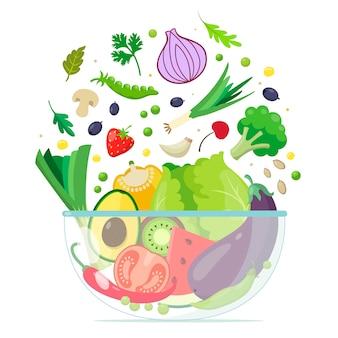 Ciotola con frutta e insalata