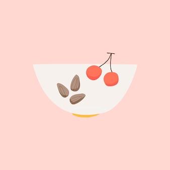 Ciotola con il vettore di ingrediente sano di mandorle e ciliegie