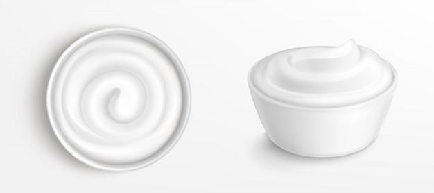 Ciotola con salsa, crema e clip art vista frontale
