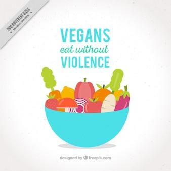 Ciotola con verdure e frutta di fondo