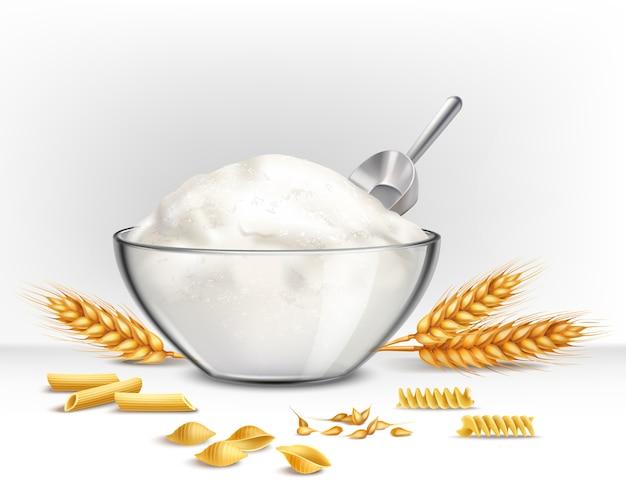Ciotola di illustrazione di farina di frumento