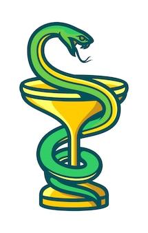 Ciotola di simbolo dell'igieia del logo della farmacia