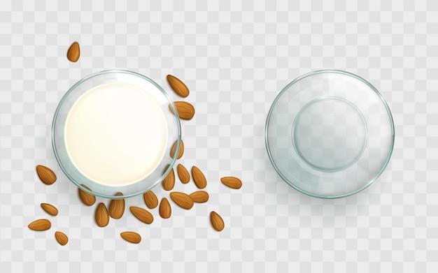 Ciotola di vetro con il vettore realistico del latte di mandorle