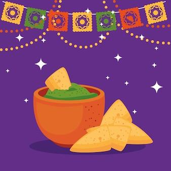 Ciotola messicana con nachos, cinco de mayo celebrazione