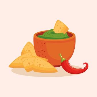 Ciotola messicana nachos e peperoncino