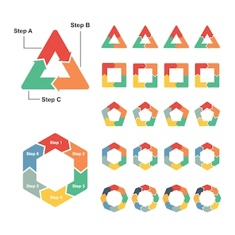 Circle polygon diagram infographic arrow da 3 a 8 passaggi