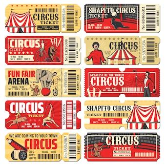 Circo, chapiteau, modelli di biglietti per spettacoli di carnevale