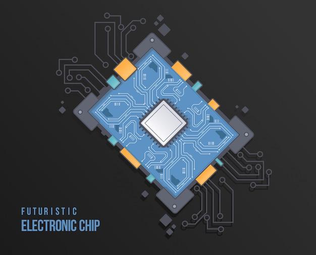 Circoli di schemi tecnologici. illustrazione di vettore del circuito di alta tecnologia. chip futuristico astratto.