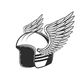 Circolo gara motociclistica, casco da motociclista con ali