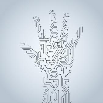 Circuito di mani sopra illustrazione vettoriale sfondo grigio