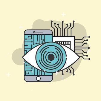 Circuito di sorveglianza artificiale smartphone intelligenza