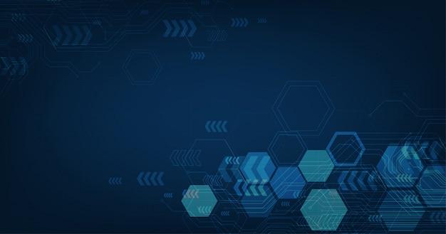 Circuito futuristico astratto ed esagoni, tecnologia digitale e ingegneria hi-tech, concetto di telecomunicazioni digitali su sfondo di colore blu scuro.