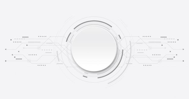 Circuito futuristico astratto su tecnologia background.circle bianca.
