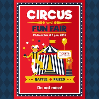 Circus fun fair carnival poster red