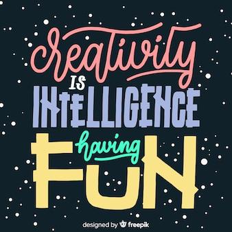Citazione di creatività disegnati a mano scritte sullo sfondo