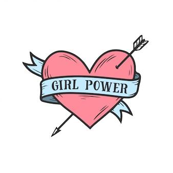 Citazione di femminismo del cuore disegnato a mano di potere della ragazza