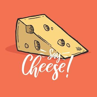 Citazione di formaggio di lettering di mano di tipografia