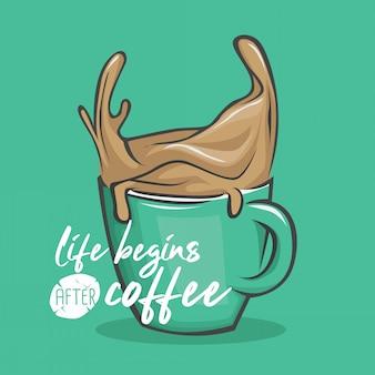 Citazione di illustrazione di vita di caffè lettering di mano di tipografia