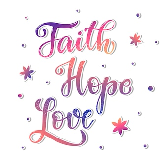 Citazione di lettering mano carino 'fede speranza amore'