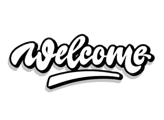 Citazione di lettering mano 'welcome' creativa